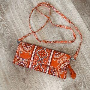 Vera Bradley Orange print crossbody wallet